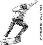 jumping skateboarder | Shutterstock .eps vector #141177556