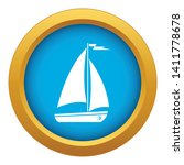 boat icon blue vector isolated...