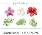 tropical set. tropic flowers... | Shutterstock .eps vector #1411779398