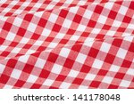 Red And White Wavy Tablecloth...