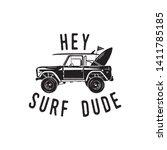 vintage surf logo print design... | Shutterstock .eps vector #1411785185
