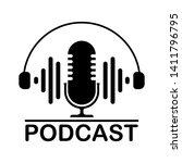 podcast. vector flat... | Shutterstock .eps vector #1411796795