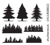 vector hand drawn forest trees... | Shutterstock .eps vector #1411808822