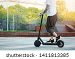 close up of man riding black... | Shutterstock . vector #1411813385