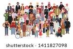 socially diverse multicultural... | Shutterstock .eps vector #1411827098