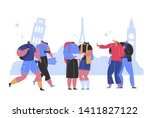 happy people travel take photo... | Shutterstock .eps vector #1411827122