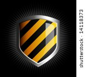 glossy black and yellow striped ... | Shutterstock .eps vector #14118373
