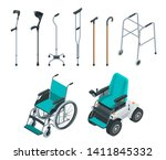 Isometric Set Of Mobility Aids...