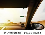 Direction sign for Lima (Peru) on the Pan-American Highway S1 seen from the inside of a car