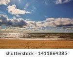a wild empty beach on baltick... | Shutterstock . vector #1411864385