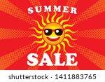 illustration of smiling sun ... | Shutterstock .eps vector #1411883765
