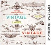 vintage vector set  hand drawn... | Shutterstock .eps vector #141192286