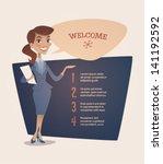 business woman presentation.... | Shutterstock .eps vector #141192592