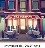 restaurant facade. retro style... | Shutterstock .eps vector #141193345