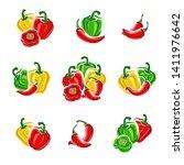 chili and pepper set.... | Shutterstock .eps vector #1411976642