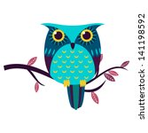 Stock vector cute owl isolated vector illustration 141198592