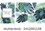 tropical leaves pattern ... | Shutterstock .eps vector #1412001158