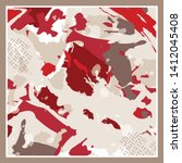 fancy silk scarf pattern on... | Shutterstock .eps vector #1412045408