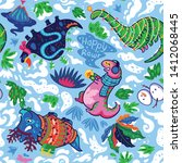 seamless pattern with cute... | Shutterstock .eps vector #1412068445