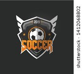 soccer football badge orange... | Shutterstock .eps vector #1412068802