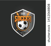 soccer football badge orange... | Shutterstock .eps vector #1412068808