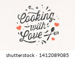 cooking with love. kitchen... | Shutterstock .eps vector #1412089085
