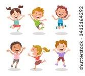 happy multiracial kids joyfully ...   Shutterstock .eps vector #1412164292
