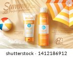 sunscreen spray and tube ads... | Shutterstock .eps vector #1412186912