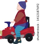 a small kid in a toy car  | Shutterstock .eps vector #1412187692