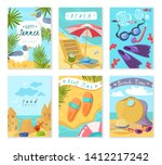 set of six vertical cards with... | Shutterstock .eps vector #1412217242