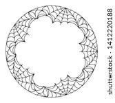 halloween round spiderweb frame ...   Shutterstock .eps vector #1412220188