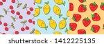 cute fruity summer seamless... | Shutterstock .eps vector #1412225135