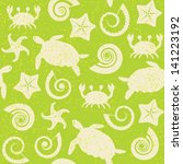 seamless pattern with turtles ... | Shutterstock .eps vector #141223192