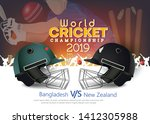 Bangladesh VS New Zealand Cricket Match concept with golden trophy and other participant countries flags on stylish background.