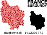 red star mosaic and solid map... | Shutterstock .eps vector #1412308772
