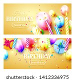 happy birthday party headers or ... | Shutterstock .eps vector #1412336975