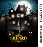 halloween poster with scary... | Shutterstock .eps vector #1412336978