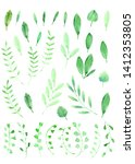 hand drawn watercolor leaves.... | Shutterstock . vector #1412353805