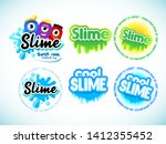 slime logotype templates set. ... | Shutterstock .eps vector #1412355452