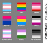 set of lgbtq pride flags. gays  ... | Shutterstock .eps vector #1412363072