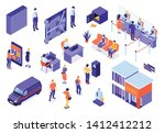 bank service isometric icons...   Shutterstock .eps vector #1412412212