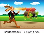 Stock vector a vector illustration of tortoise and hare racing 141245728