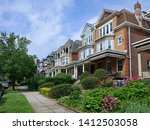 Row Of Large Old Brick Houses...