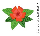 flower and leafs decorative icon | Shutterstock .eps vector #1412526215