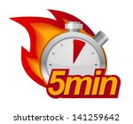 five minutes timer with fire on ... | Shutterstock .eps vector #141259642