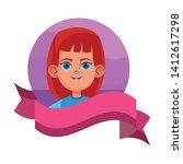 little kid girls face avatar... | Shutterstock .eps vector #1412617298