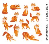 red cute cat in different poses.... | Shutterstock .eps vector #1412631575