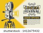 cinema poster with retro movie...   Shutterstock .eps vector #1412675432