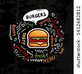 tasty burgers  fast food poster.... | Shutterstock .eps vector #1412682812