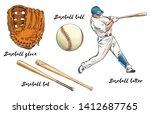 set of baseball in color.... | Shutterstock .eps vector #1412687765